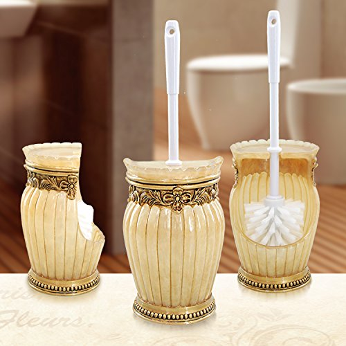 WANDOM Bathroom Toilet Brush Creative Resin Shipping Toilet Cleaning Supplies Long Handle Floor Toilet Brush Toilet Brush Set, Striped Yellow Striped Set