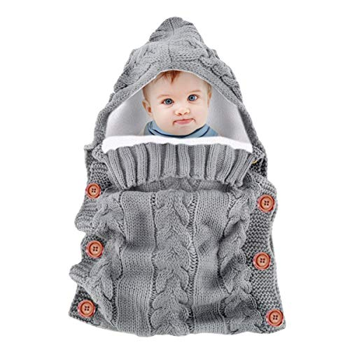 Neugeborenes Baby gestrickt häkeln mit Kapuze Schlafsäcke dicke warme Fleece Swaddle Wrap Windeln Decke Sack (Color : Grey, Size : One Size) (Fleece Schlafsack-sack Baby)