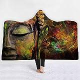 ISAAC ENGLAND Buddha Kapuzendecke 3D Gedruckt Sherpa Fleece Mikrofaser Aura Erwachsene Lotus Blume Buddhistischen Glauben Decke-150 * 200 cm