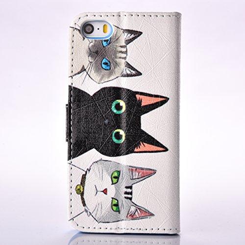 A9H iPhone 5C Brieftasche Hülle Ultra Slim Leder Tasche Hülle Etui Schutzhülle Ständer Smart Cover Case für PU Leder Flip Bookstyle Folio Cover Ledertasche Schutzhülle Tasche mit Standfunktion und Kar 12HUA