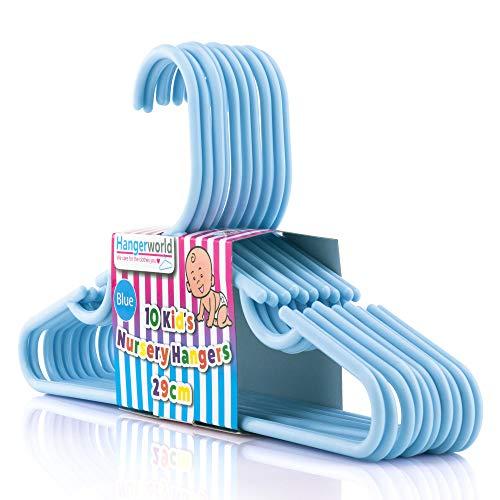Hangerworld Lot de 10 Cintres Enfant en Plastique Bleu Gain d'Espace 29 cm
