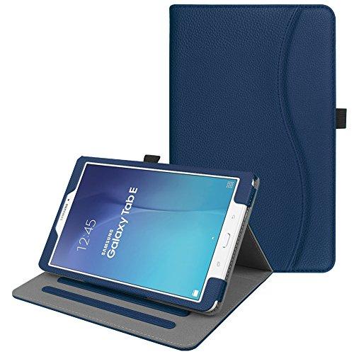 Fintie Hülle für Samsung Galaxy Tab E 9.6 T560N / T561N (9,6 Zoll) Tablet-PC - Multi-Winkel Betrachtung Kunstleder Schutzhülle Etui mit Dokumentschlitze & Auto Schlaf/Wach Funktion, Marineblau