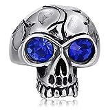 Bishilin Edelstahl Ring Herren Gothic mit Blau Augen Zirkonia Totenkopf Schädel Partnerringe Männer Ring Silber Größe 62 (19.7)