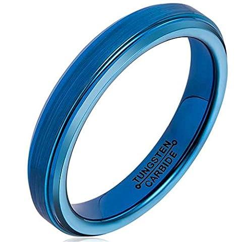 Epinki Bijoux Tungstène Bague Carbure Mariage Bande Anneau Bleu Brossé Centre 4MM Taille 59