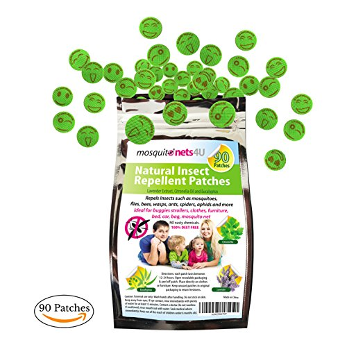 Parches repelentes de mosquitos - 90 adhesivos repelentes de insectos - Aceites esenciales Lavanda, eucalipto y citronela 100% libres de DEET - Repelente natural de insectos para niños y adultos