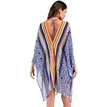 a808e6917ccf PassMe Copricostume Mare Donna in Chiffon Kimono Cardigan Stampato Costume  da Bagno Copribikini Allentato Camicetta Casuale