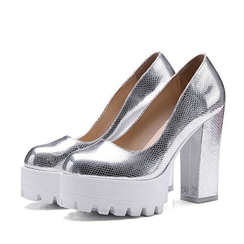 Damens Pumps High-Heel Blockabsatz Glitzer Schlangenhaut mit Plateau Silber
