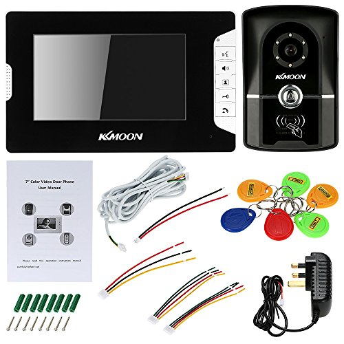 KKMOON 7 Inch Wired Video Door Phone System Visual Intercom Doorbell with Monitor + 700TVL Outdoor Camera + 6*RFID Card support ID Card Unlock Infrared Night View Rainproof Lock Time Delay
