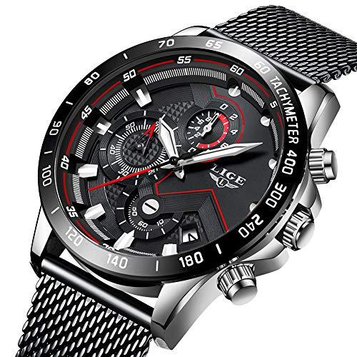 Uhren Herren Edelstahl Mesh Band Chronograph Quarz Uhr Schwarz Männer Datum Kalender Wasserdicht Multifunktions Armbanduhr Weiß (Bänder Herren-kleid-uhr)