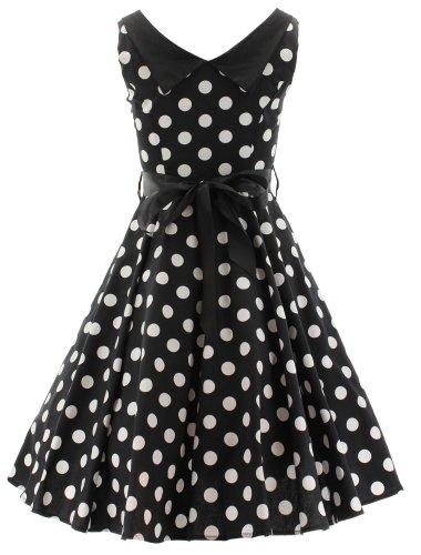 H r & london bIG wHITE dOTS dRESS robe longue 2035 Noir - Noir