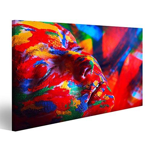 Preisvergleich Produktbild Bild Bilder auf Leinwand XXL Bild ! Direkt vom Hersteller ! Poster Leinwandbild Wandbilder Kunstdruck verschiedene Formate ! AVY Frau Abstrakt mit Farbe