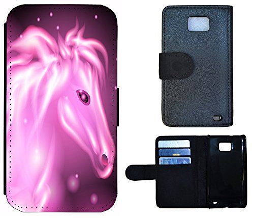 Coque Flip Cover Housse Etui Case Pour, Tissu, 1010 Wolf, Apple iPhone 4 / 4s 1013 Pferd Lila Abstract