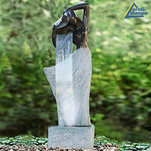 AMUR Zimmerbrunnen Gartenbrunnen Brunnen Zierbrunnen Brunnen Vogelbad Dancing Lady mit LED-Licht 230V Wasserfall Wasserspiel für Garten, Gartenteich, Terrasse, Teich, Balkon Sehr Dekorativ
