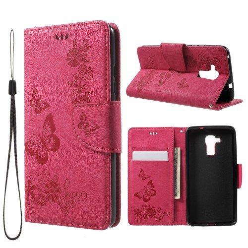 jbTec® Flip Case Handy-Hülle passend für Huawei GT3 / Honor 5c - Book Muster Schmetterlinge S19 - Handy-Tasche Schutz-Hülle Cover Handyhülle Ständer Bookstyle Booklet, Farbe:Deep Pink