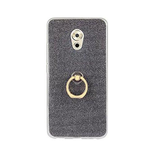 EKINHUI Case Cover Soft Flexible TPU Back Cover Case Shockproof Schutzhülle mit Bling Glitter Sparkles und Kickstand für Meizu Meilan Pro 6 Plus ( Color : Pink ) Black