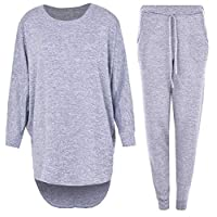 2 Piece Track Suit Set High Low Top and Bottoms Casual Loungewear Sweatshirt Joggers Set (L/XL (20-22), Grey)