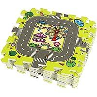 JYCRA Espuma Puzzle Play Mat, 9 Piezas entrelazadas Suave para niños bebé Espuma EVA Carretera tráfico Actividades Play Mat Suelo Azulejos