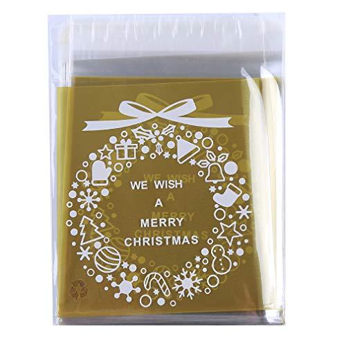 SHIJIANDE Schöne Weihnachtsplätzchen Taschen Selbstklebende Klare Süßigkeiten Taschen Cellophan Behandeln Taschen Party Supplies Weihnachtskranz Stil 100 Stücke