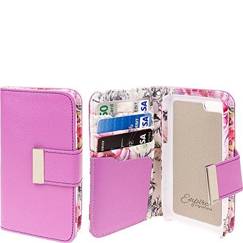 Empire Klix Klutch Étui Intérieur rigide en polycarbonate Doublure Feutre étui portefeuille avec rabat magnétique et dragonne pour iPhone 5C _ P Pink Faded Flowers