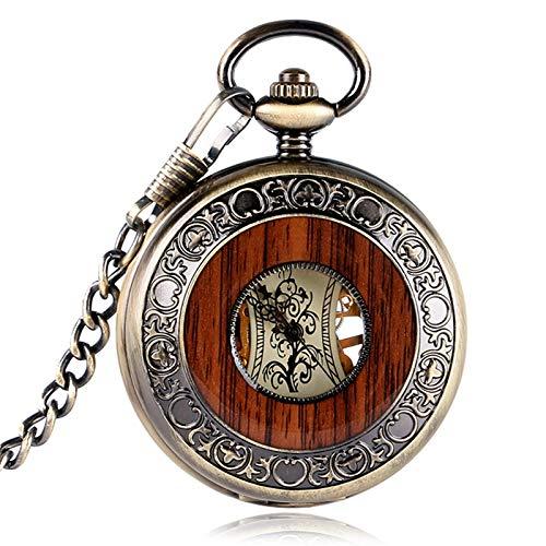 XDKHG Montre de poche Vintage Holz Kreis Design mechanische Handaufzug Taschenuhr Retro Cool Anhänger Windup Uhren Herren Damen (Wind Up Pocket Watch Mit Kette)