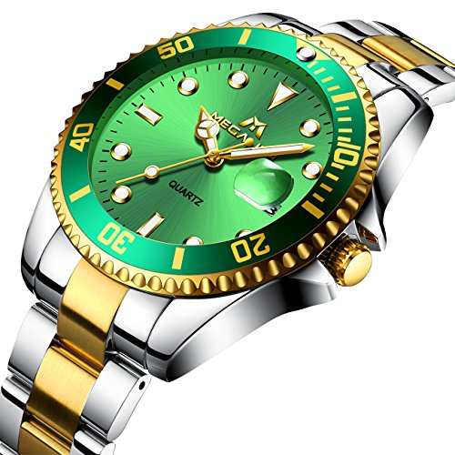 Mens Big Face Stainless Steel Watches Men Luxury Design 30M Waterproof Calendar Date Analogue Quartz Wrist Watch Gents Business Casual Fashion Sports Dress Heavy Watches with Gold Green Dial  - 51AmWO95VJL - Mens Big Face Stainless Steel Watches Men Luxury Design 30M Waterproof Calendar Date Analogue Quartz Wrist Watch Gents Business Casual Fashion Sports Dress Heavy Watches with Gold Green Dial