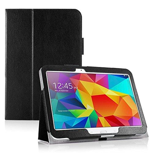 Invero® Premium Hülle Ledertasche umfasst Ständer Feature, Displayschutzfolie und Eingabestift Kugelschreiber für Samsung Galaxy Tab 4 10,1 Zoll SM T530 T531 (Schwarz / Black) (Invisible Shield Für Den Kindle)