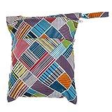 NUOLUX Sac à couches lavables étanche zippé (vague colorée)