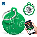 Perdidus Namensschilder für Hunde Born to Kill mit NFC und QR, 32mm, Unisex, grün