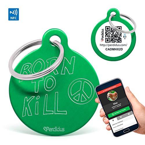 Perdidus Placa Identificativa para Perros Born to Kill con NFC y QR, 32 mm, Unisex, Verde