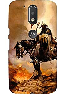 AMEZ designer printed 3d premium high quality back case cover for Moto G4 (Fantasy rider horse fire)