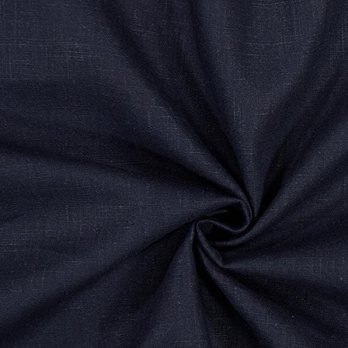 Fabulous Fabrics Leinenstoff mittelschwer, Navy - Leinenstoffe zum Nähen von Leinenhosen, Freizeithemden, Leinenkleider und natürliche Dekoration - Meterware ab 0,5m