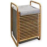 Style home Bambus Wäschekorb platzsparend Wäscheregal Grau SH70LCB001-GRA