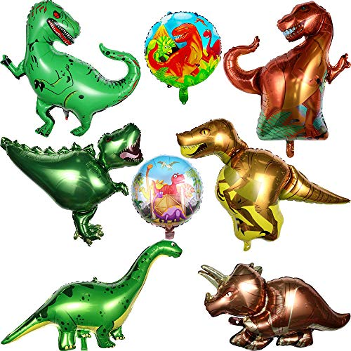 Dinosauri palloncini in alluminio, 8 pezzi palloncini compleanno dinosaur ballons forniture festa di compleanno del bambino kit giant foil t-rex dinosaur balloon decorazioni gonfiabile per i bambini