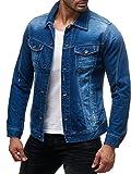 Herren Jeans Jacke Destroyed Jeanshemd Übergangsjacke H2138, Farben:Blau, Größe Jacken:S