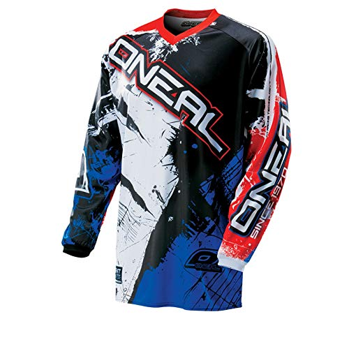 O\'Neal Element MX Jersey Shocker Schwarz Rot Blau Motocross Cross Enduro Downhill, 0024S-50, Größe L