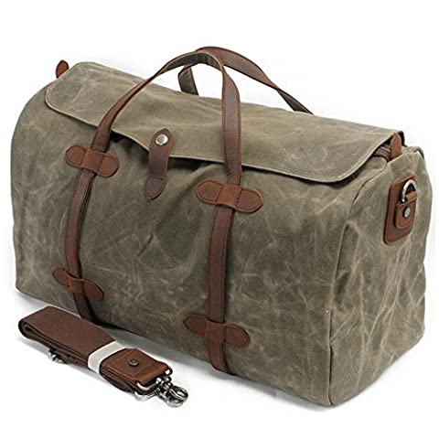 Mupack 2 in 1 Carry on Canvas Retro Weekend Shoulder Travel Bag Lightweight Satchel Totes Bags with 36L Large Capacity Green