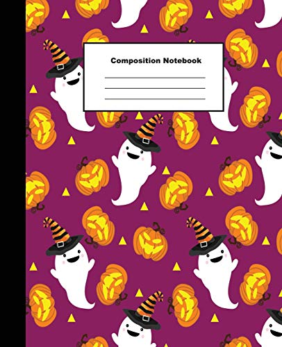 Composition Notebook: Halloween White Ghost and Pumpkin on Purple Background Wide Ruled Paper
