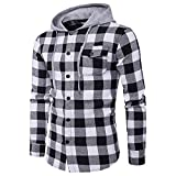 Blusa de Hombre BaZhaHei Camisetas de Cuadros Ocasionales de otoño de los...