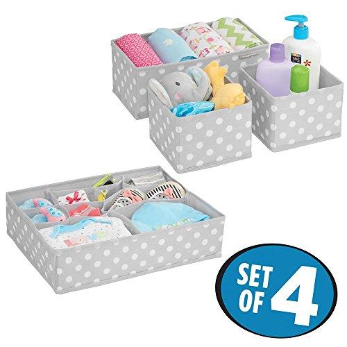 mDesign boite de rangement tissu (lot de 4) – bac de rangement avec 13 compartiments au total – pour la chambre d'enfant – pour vêtements, couches, lotions, etc. – rangement tiroir – gris/blanc