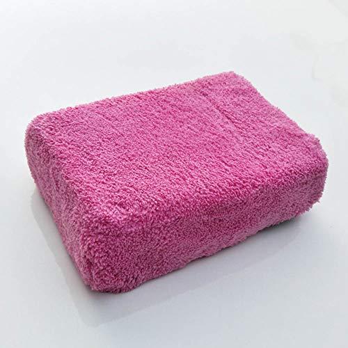 Mgcdd- Car Sponges 2 Stücke High-Density Coral Velvet Autowaschschwamm Super Absorbent Fusselfreie Dekontamination Starke Tasche Net Eye Reinigung Auto Schwamm Block,Pink,23 * 15 * 6.5CM