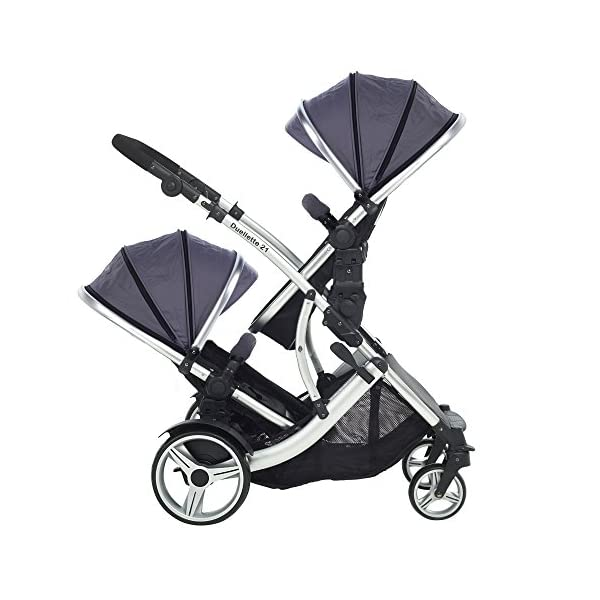 Kids Kargo Duellette Combi Suitable from Newborn. Carrycot Converts to Seat Unit. Dooglebug Silver Kids Kargo Demo video please see link https://www.youtube.com/watch?v=X_tEcnQ8O8E%20 Suitability Newborn - 15kg (approx 3 yrs). Carrycot converts to seat unit incl mattress Carrycot & car seats fit in top or bottom position. Compatible car seats; Kidz Kargo 0+, Britax Babysafe 0+ (no adapters needed) or Maxi Cosi adaptors 3