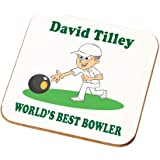Personalised Bowling Coaster Gift for Grandad Male Bowler Lawn Bowls Present (White Skin)
