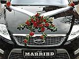 SPITZE STRAUß Auto Schmuck Braut Paar Rose Deko Dekoration Autoschmuck Hochzeit Car Auto Wedding Deko PKW (Rot)