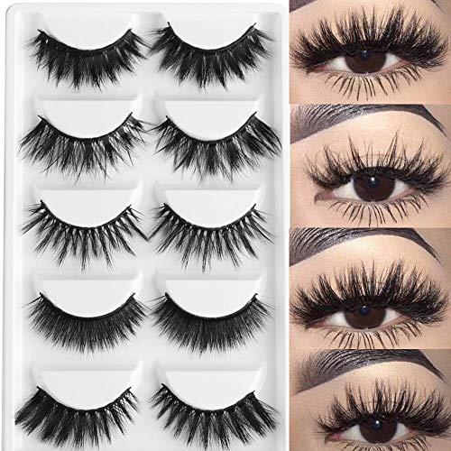 5 Paires de Faux Cils naturel 3D noir longs et entrecroisés Multipack Faux Cils Faits à La Main Pure Réutilisable Extension pour Maquillage regard envoûtant Application facile # 01