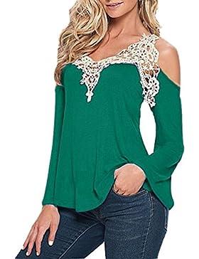 Donna Camicia Maglia Lunga V-Neck Cotone Bluse Pizzo Stylish T-Shirt Tops