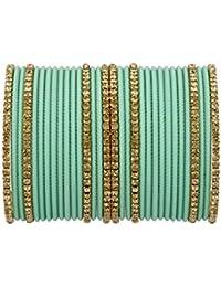 iJewel Art™ Pretty Sea-Green Bangles Set For Girls||Women