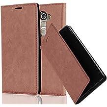 Cadorabo - Funda Book Style Cuero Sintético en Diseño Libro LG G4 - Etui Case Cover Carcasa Caja Protección con Imán Invisible en MARRÓN-CAPUCHINO