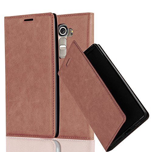 Cadorabo Hülle für LG G4 - Hülle in Cappuccino BRAUN – Handyhülle mit Magnetverschluss, Standfunktion und Kartenfach - Case Cover Schutzhülle Etui Tasche Book Klapp Style