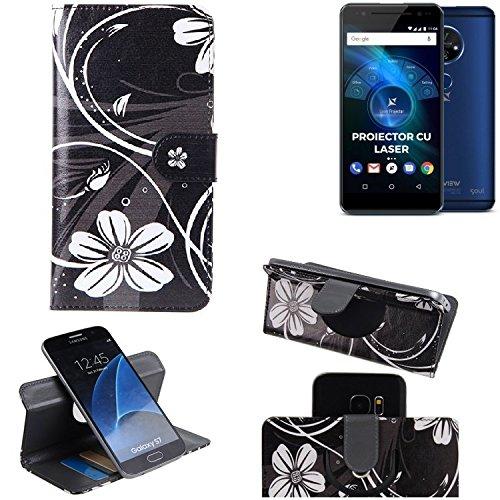 K-S-Trade® Schutzhülle Für Allview X4 Soul Vision Hülle 360° Wallet Case Schutz Hülle ''Flowers'' Smartphone Flip Cover Flipstyle Tasche Handyhülle Schwarz-weiß 1x