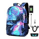 Zaino di svago Zaino luminoso con porta USB di ricarica Borsa scolastica 35L Galaxy Daypac Sotto lo zaino da 15.6in(Ragazzo blu di musica blu)